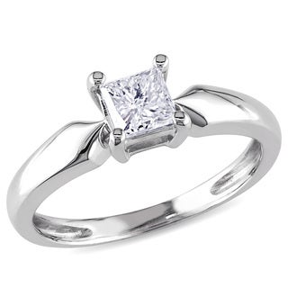 Miadora 14k White Gold 1/2ct TDW Diamond Solitaire Ring (J-K, I2-I3)