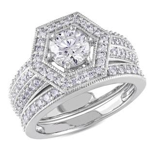 Miadora 14k White Gold 1 1/2ct TDW Diamond Bridal Ring Set