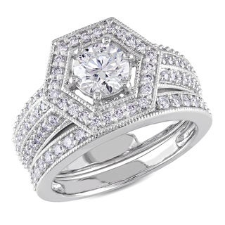Miadora 14k White Gold 1 1/2ct TDW Diamond Bridal Ring Set (More options available)