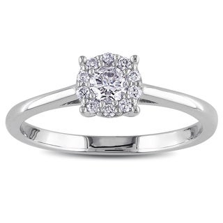 Miadora 10k White Gold 1/4ct TDW Diamond Halo Ring