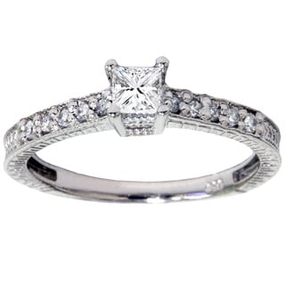 14k White Gold 1/ 2ct TDW Diamond Engagement Ring (I-J, I2-I3)