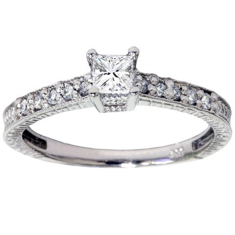 14k White Gold 1/ 2ct TDW Diamond Promise Ring