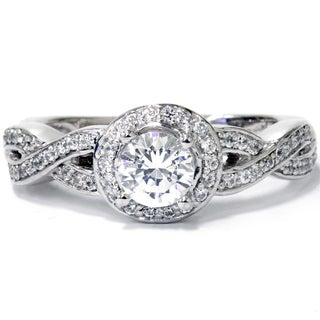 14k White Gold 1ct TDW Diamond Vintage Engagement Ring