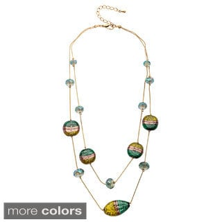 Alexa Starr two row Illusion faceted and painted glass necklace