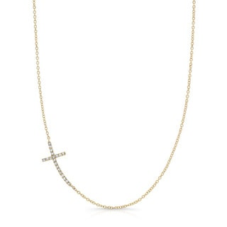 14k Yellow Gold 1/6ct TDW Sideways East-West Diamond Cross Necklace (J-K, I2-I3)