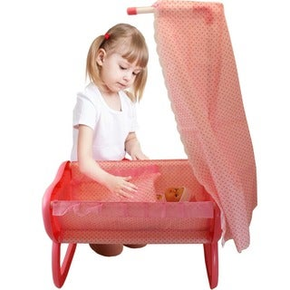 DimpleChild Pink Princess Baby 3-piece Doll, Cradle and Canopy Set