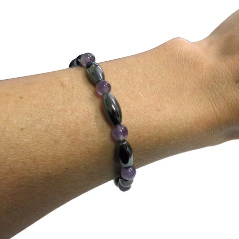 Magnetic Hematite Bracelet with Amethyst Cats eye beads