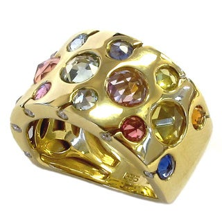 Sonia Bitton 14k Gold Multi-color 4 1/4ct TGW Sapphire and Diamond Ring