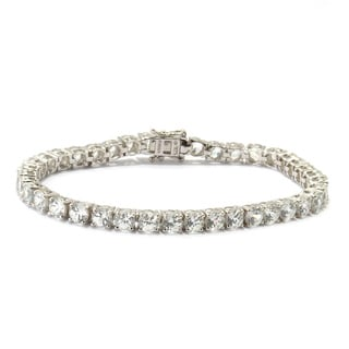 Sterling Silver Natural White Zircon 7.25-inch Tennis Bracelet