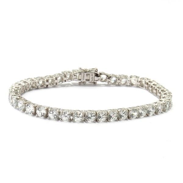4 mm Round Cut  Natural Garnet Gemstone 925 Sterling Silver Tennis Bracelet