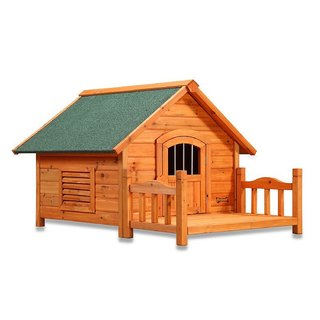Pet Squeak Porch Pups Wooden Cabin Dog House with Deck