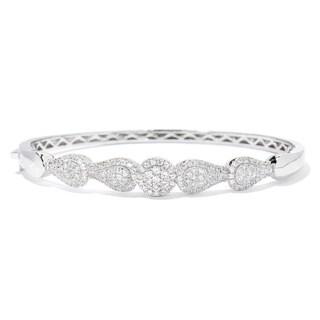 Sterling Silver 2.26ctw White Zircon Bangle Bracelet