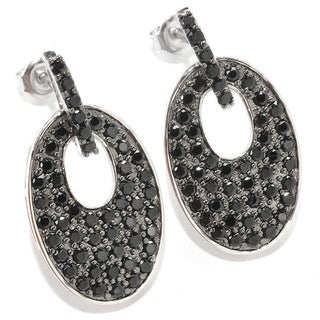 Sterling Silver 2 4/5ct TGW Black Spinel Pave Oval Drop Earrings