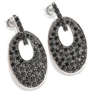 Sterling Silver 2 4/5ct TGW Black Spinel Pave Oval Drop Earrings