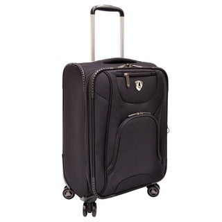 Traveler's Choice Black Cornwall 22-inch Honeycomb Carry-on Spinner Upright Suitcase