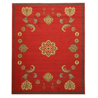 Red Transitional Floral Arabella Rug (7'10 x 9'10)