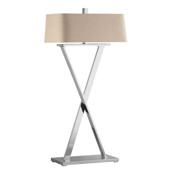 Max Polished Nickel Modern X-base Floor Lamp