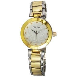Vecceli Women's L-551-W Fashion Two-tone Quartz Watch|https://ak1.ostkcdn.com/images/products/9054164/Vecceli-Womens-L-551-W-Fashion-Two-tone-Quartz-Watch-P16249780.jpg?impolicy=medium