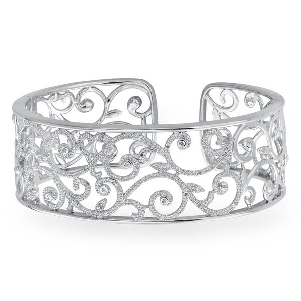 Sterling Silver 1/5ct TDW White Diamond Textured Cuff Bracelet By Ever One