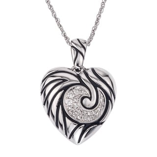 Sterling Silver 1/5ct TDW Diamond Antique Heart Necklace By Ever One (H-I, I2-I3)