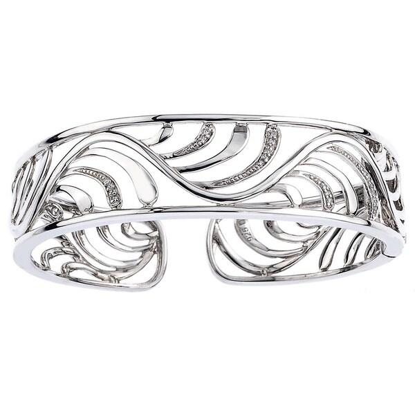 Sterling Silver 1/8ct TDW Diamond Cuff Bracelet  By Ever One (H-I, I2-I3)