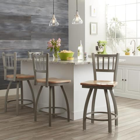 Steel Frame and Maple Swivel Counter Stool