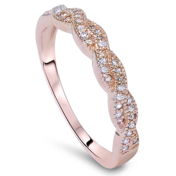 14k Rose Gold 1/5ct TDW Vintage Braided Diamond Wedding Band - Pink. Opens flyout.