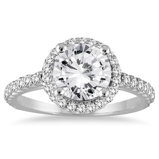14k White Gold 1 1/8ct TDW Diamond Halo Engagement Ring (3 options available)
