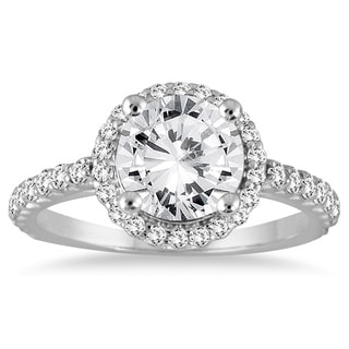 14k White Gold 1 1/8ct TDW Diamond Halo Engagement Ring (I-J, I2-I3)
