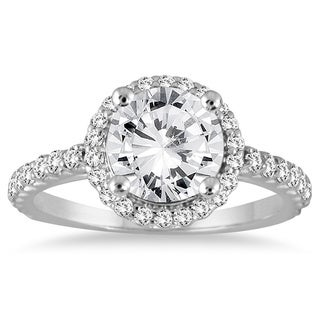 14k White Gold 1 1/8ct TDW Diamond Halo Engagement Ring