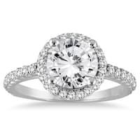 14k White Gold 1 1/8ct TDW Diamond Halo Engagement Ring