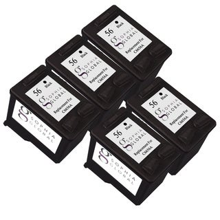 Sophia Global Remanufactured Black Ink Cartridge Replacement for HP 56 (Pack of 5)