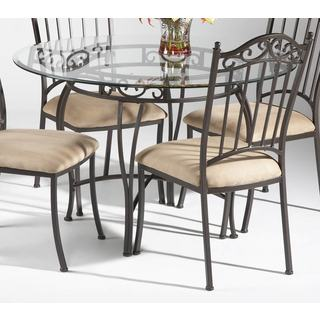 Somette Round Wrought Iron Glass Top Dining Table