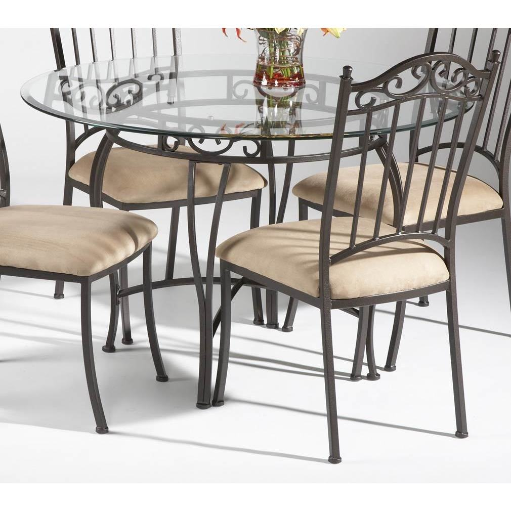 Somette Round Wrought Iron Glass Top Dining Table Overstock 9054265