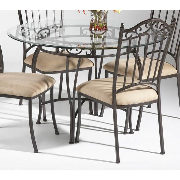 Living Browning Glass Top And Brown Powder Coated Metal Dining Table