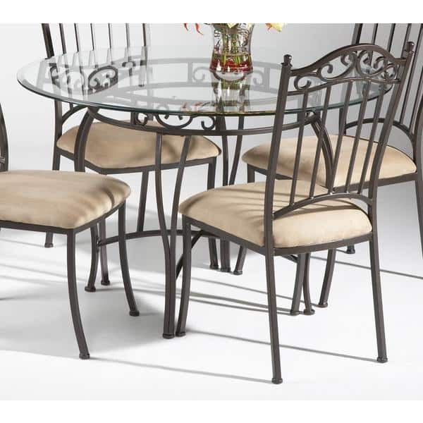 on sale e09b9 2783a Somette Round Wrought Iron Glass Top Dining Table