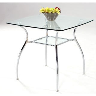 Somette 34-inch Square Glass Top Metal Dining Table