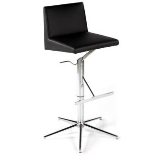 Somette Chrome/ Black Pneumatic Gas Lift Height Stool