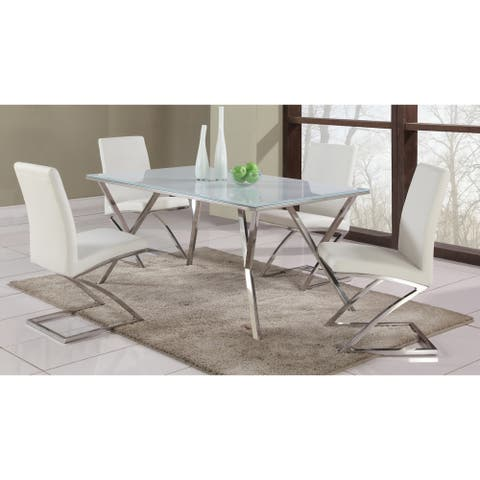 Somette White Starphire 61-inch Glass Dining Table