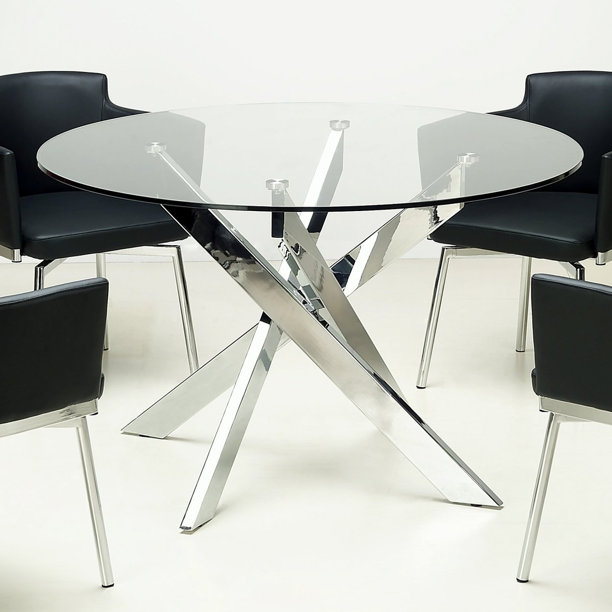Somette Round Gl Top Chrome Dining Table Silver Free Shipping Today 9054287