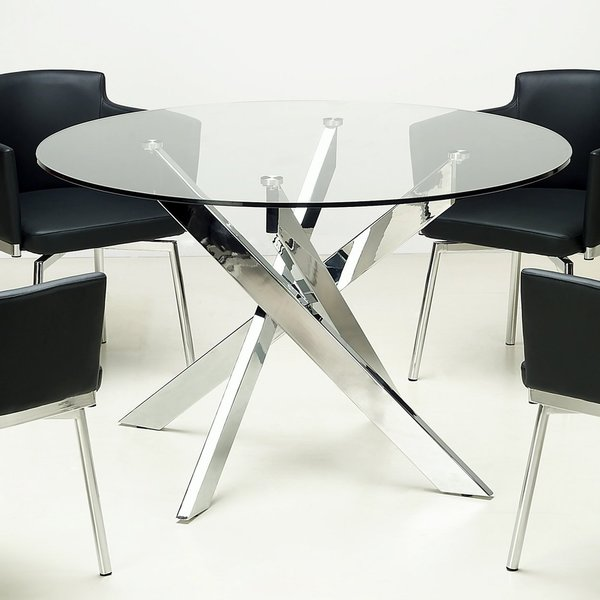 Somette Round Gl Top Chrome Dining Table Silver N A