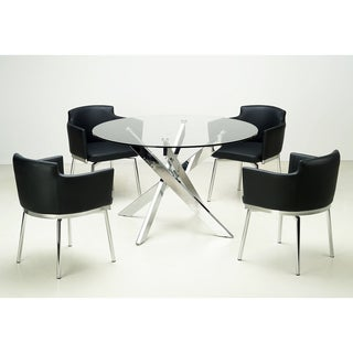 Somette Round Glass Top Chrome Dining Table
