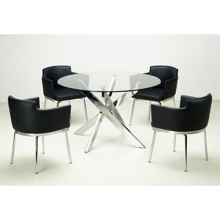 Exceptionnel Somette Round Glass Top Chrome Dining Table