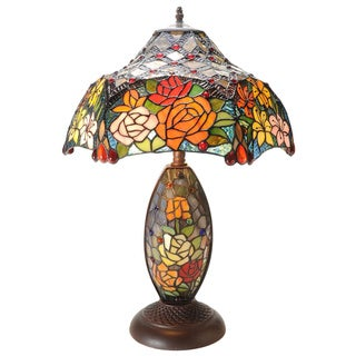 Tiffany-style 25-inch Rose Double-lit Stained Glass Table Lamp