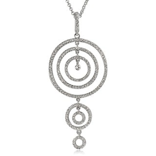 Journee Collection Silvertone Crystal Circle Signs Necklace