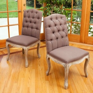 Weathered Hardwood Studded Mocha Dining Chair (Set of 2) by Christopher Knight Home