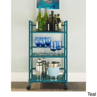 Porch & Den Wicker Park Julian 3-shelf Rolling Utility Cart (Option: Teal)