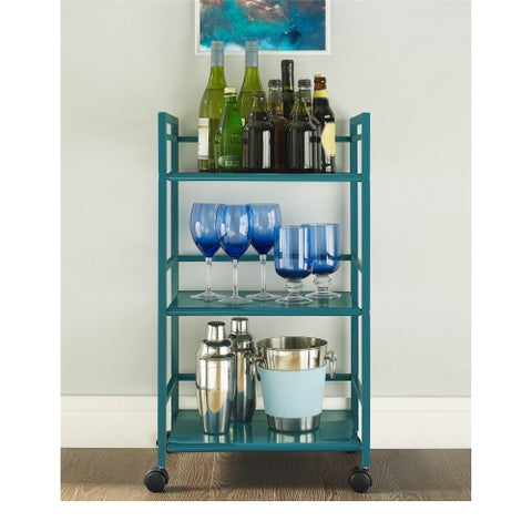 Porch & Den Wicker Park Julian 3-shelf Rolling Utility Cart
