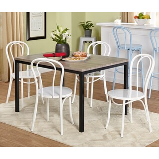 Simple Living 5-piece Vintage Dining Set with White Chairs