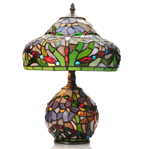 tiffany style 15 5 inch dragonfly double lit stained glass table lamp. Black Bedroom Furniture Sets. Home Design Ideas